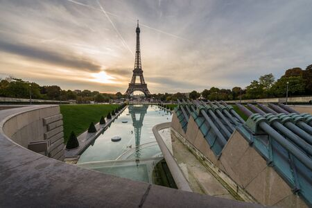 trocadero: Eiffel tower view from Jardins du Trocadero during sunrise time
