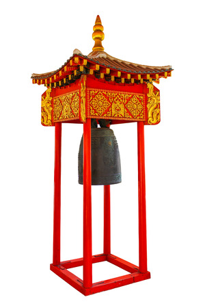 Thailand, Bangkok, Wat Benchamabophit temple, Traditional Chinese style bell in Thai temple on white  photo