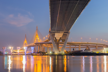 bhumibol: Bhumibol Bridge also casually call as Industrial Ring Road Bridge, Samut Prakarn,Thailand