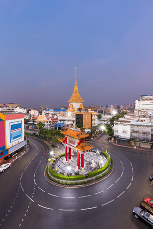 wat traimit: Royal Jubilee Gate, Landmark of Chinatown and Wat Traimit Temple of the Golden Buddha , Bangkok, Thailand. Landmark of Chinatown in Yaowarat Road Odeon Roundabout