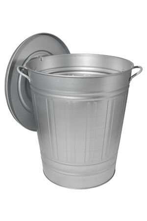 wastebasket: Trash can with lid Stock Photo