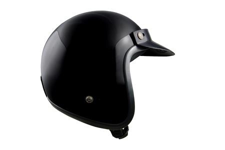 casco de moto: Negro casco de la moto clásica aislado en blanco