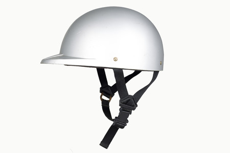 safety helmet: Side view of gray motorbike classic helmet isolated on white