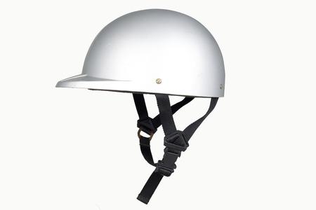 casco de moto: Vista lateral del casco de la moto clásica gris aislado en blanco