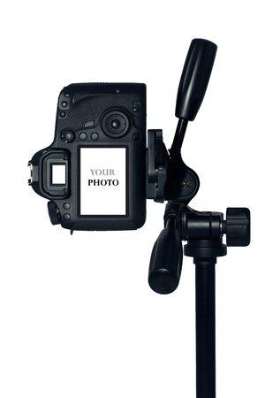 dslr: DSLR camera with tripod isolated on white background Stock Photo