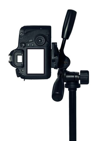 photography session: DSLR camera with tripod isolated on  white background