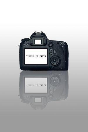 dslr: DSLR camera on white background