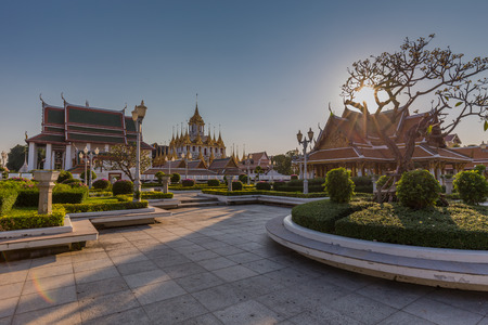 Wat Ratchanatdaram a Beautiful temple at daytime, the temple is best known for the Loha Prasat famous landmark for tourist in Bangkok,Thailand