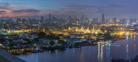 gloaming: Temple of emerald buddha and grand palace at dawn in Bangkok, Thailand