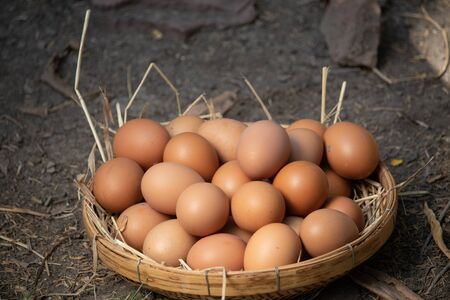 Many eggs lay on a pile of straw. Put in rattan basket