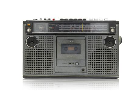 Retro ghetto blaster isolated on white with clipping path , radio cassette recorder