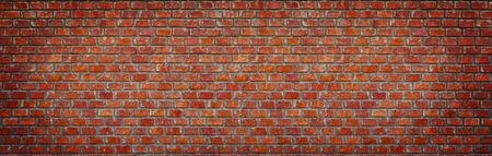 brick wall of red color, wide panorama of masonry ,panaromic hight resolution color. Reklamní fotografie