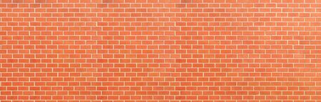brick wall of red color, wide panorama of masonry ,panaromic hight resolution photo.