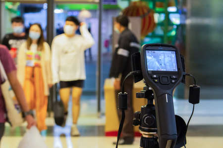 Bangkok,Thailand 2019 fabuary 03 :Staff brought the Thermoscan Infrared Camera to install at the entrance of Paragon mall. To keep an eye on novel coronavirus infected people 2019 At this time, there is a severe outbreak in Wuhan, China, where Chinese tra