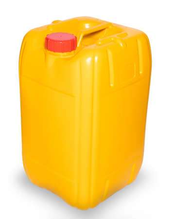 Yellow gallon of oil isolated on white background Reklamní fotografie