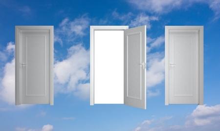 white door in the sky