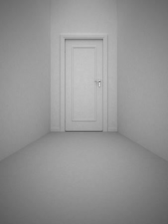 Closed white door photo