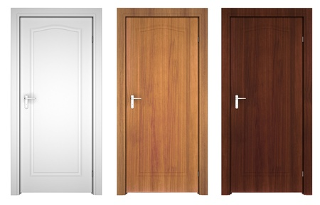 set of doors isolated on white photo