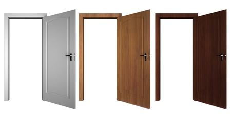 set of doors isolated on white photo