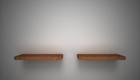 3D empty shelf on wall. Stock Photo - 10442860