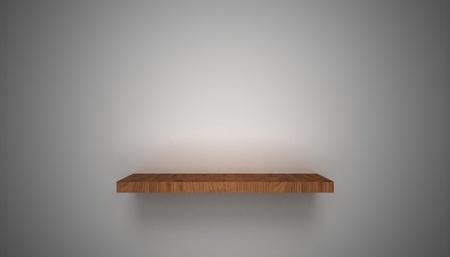 wooden shelves: 3D empty shelf on wall. Stock Photo