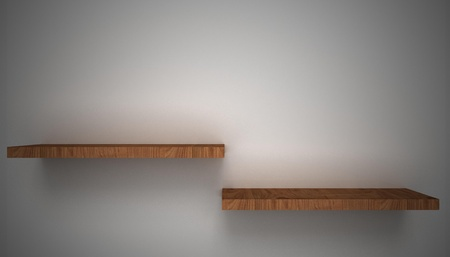 3D empty shelf on wall. Stock Photo