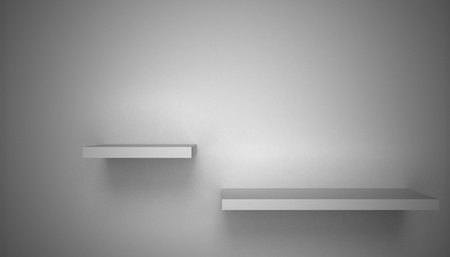 store display: 3D empty shelf on wall. Stock Photo