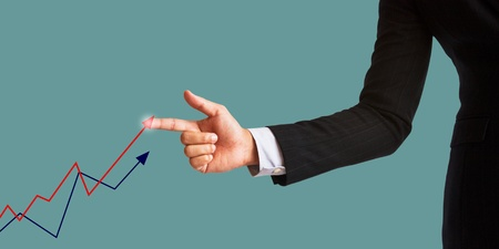 businessman hand and graphs photo