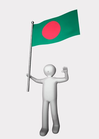 national cultures: 3d men with flag of Bangladesh.