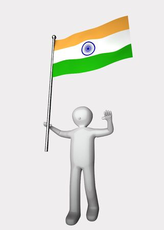 3d men with flag of India.