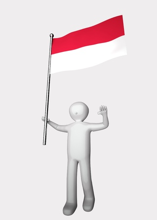 3d men with flag of Indonesia.