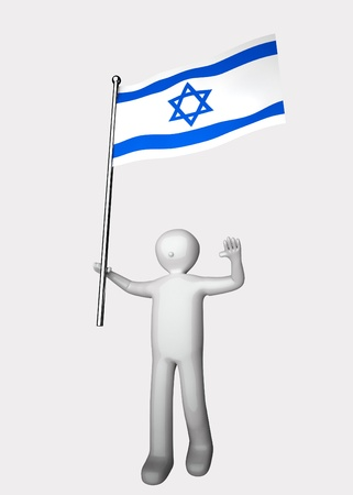 3d men with flag of Israel. photo