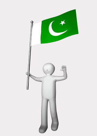 pakistan flag: 3d men with flag of Pakistan.