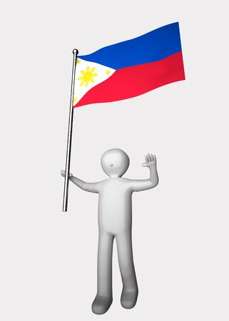 3d men with flag of Philippines. Stock Photo