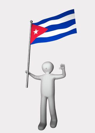 3d men with flag of Cuba. Stock Photo