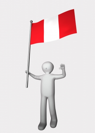 bandera de peru: 3d hombre con la bandera del Perú. Foto de archivo