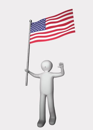 3d man with flag of United States. photo