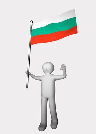 bulgaria: 3d man with flag of Bulgaria. Stock Photo