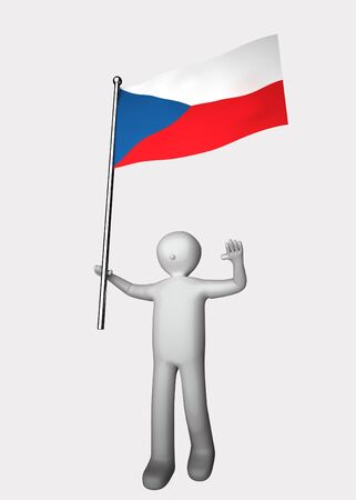 3d man with flag of Czech. Stock Photo