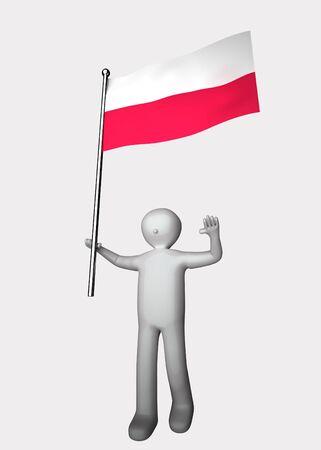 poland flag: 3d man with flag of Poland.