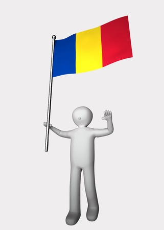 romania flag: 3d man with flag of Romania.