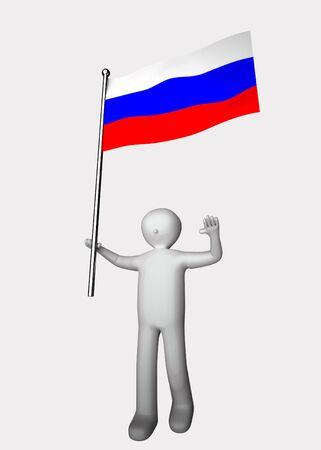 bandera rusia: hombre 3D con la bandera de Rusia.