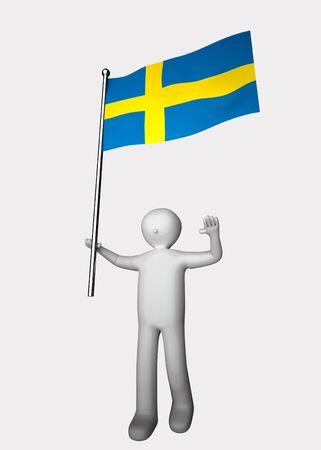 3d man with flag of Sweden.