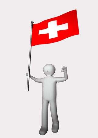 3d man with flag of Switzerland.