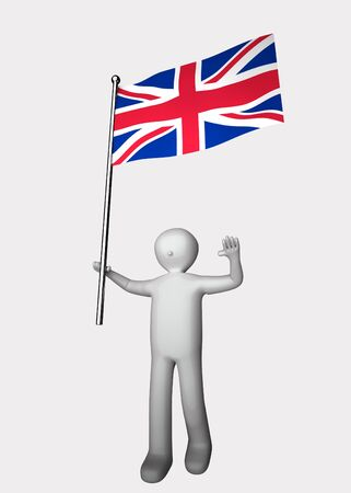 3d man with flag of United Kingdom. Stock Photo
