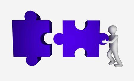 main idea: 3d man with puzzle.