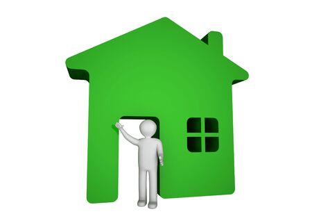 3d man house icon home.