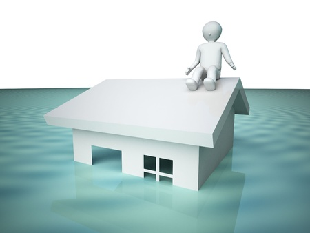 Flooded house. Stock Photo - 10469378