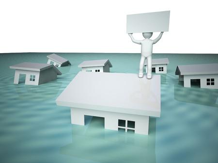 ahogarse: Casa inundada.