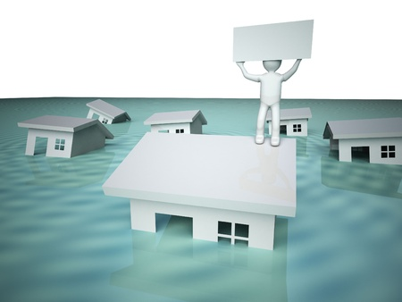 flood water: Flooded house.